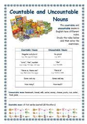 Countable And Uncountable Nouns Explanation Pdf Worksheets Some Any Worksheets Page 5