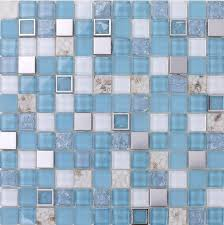 blue glass mosaic tile mother of peal tile kitchen backsplash