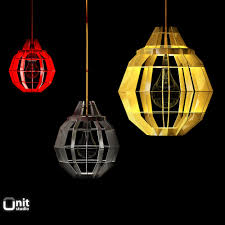 Pendant Lamps 3d Cage Pendant Lamps By Dare Studio Cgtrader