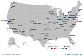 map of us cities city political spectrum map business insider