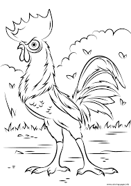 heihei rooster from moana disney coloring pages printable
