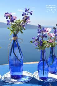 diy santorini wedding decor in u0026 purple centerpieces