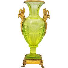 mercury glass urn vase baccarat style vaseline cut glass vase or urn with brass swan