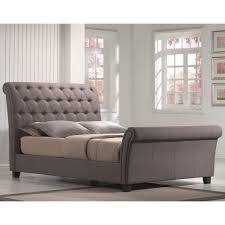 Tufted Sleigh Bed King Innsbruck Upholstered Sleigh Bed In Silver Linen Humble Abode