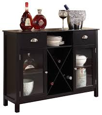 wood wine rack console sideboard table with storage dark cherry