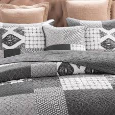 Geometric Coverlet Dada Bedding Classical Shades Of Grey Patchwork Bedspread Set Jhw