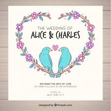 weeding card wedding card birds design vector free