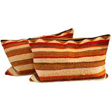 pair of navajo indian striped saddle blanket weaving pillows for