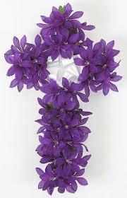 purple flowers memorial cross with purple flowers 22 inch