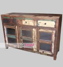 Reclaimed Wood Storage Cabinet Recycled Wood Storage Glass Door Sideboard Indian Cabinet