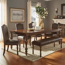 walker edison furniture company meridian 6 piece cappuccino dining