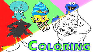 speed coloring cookie monster eating shopkins spongebob squidward