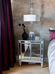 narrow modern mirrored nightstand with double drawer under hanging