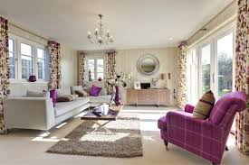 purple themed living room ideas cream fabric curtain light brown