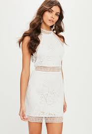 high neck dress white high neck lace bodycon dress missguided