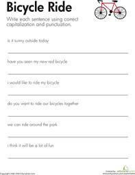 fix the sentences bicycle ride worksheet education com