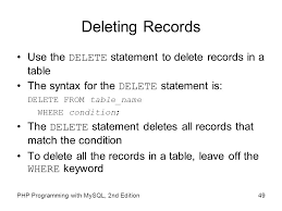 Delete All Rows From Table Chapter 7 Working With Databases And Mysql Ppt Video Online Download