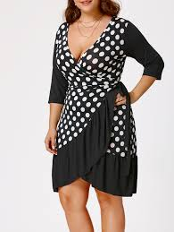 polka dot print plus size wrap dress in white and black xl