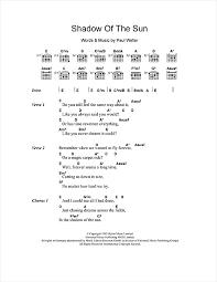 shadow of the sun sheet by paul weller lyrics chords 107647