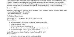 Secretary Resume Duties Medical Receptionist Skills Medical Receptionist Cv Template Job