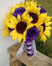 Sunflower Wedding Bouquet Sunflower Bouquet Sunflower Purple Rose Bridal Bouquet Sunflower