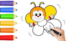how to draw rainbow bee coloring pages for kids w learn color