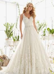 dressilyme stunning wedding dresses lace applique and neckline