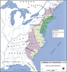 colonial map of the colonies population density 1775