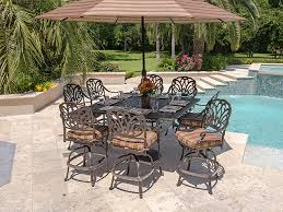 Bar Height Patio Set With Swivel Chairs Toscano Cast Aluminum 9 Pc Gathering Height Dining Set With 60