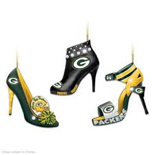 nfl green bay packers steppin out stiletto shoe ornament collection