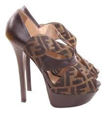 fendi brown signature zucca pumps size us 8 regular m b tradesy
