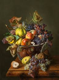 Bowl Of Fruits Leopold Zinnögger Austrian 1811 1872 Still Life With Bowl Of