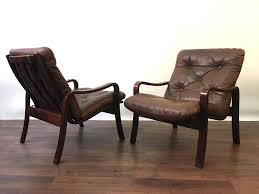 mid century pair rosewood leather easy chairs armchairs vintage