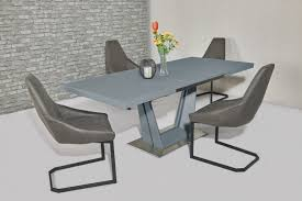 matt grey glass dining table and 6 fabric chairs homegenies