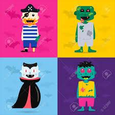 halloween kid cartoons set of halloween costume characters vector halloween mascots