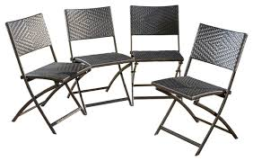 jason outdoor brown wicker folding chairs set of 4 contemporary