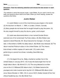 4th grade staar writing revising and editing passage justin bieber