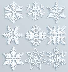 snow decoration snow decorations set of paper snowflakes stock vector