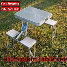 lightweight folding table and chairs qoo10 portable folding table and chair set indoor outdoor