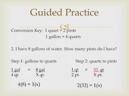 32 cups to gallons converting customary units using proportions 1 cup c 8