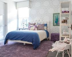 Girls Bedroom Accent Wall White And Purple Bedroom With Stenciled Accent Wall