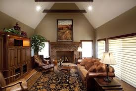 Decorating Rooms With Cathedral Ceilings Country Living Room With Exposed Beam By Customhomegroup Zillow