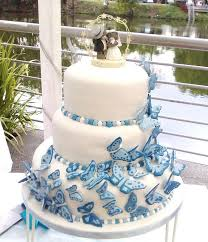 Wedding Cakes Pictures Blue Wedding Cake With Butterflies