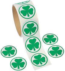 amazon com fun express shamrock roll stickers 100 piece toys