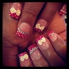 cute polka dots with 3d bows nail art gallery