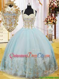 summer luxurious halter top gold appliques quinceanera dress in