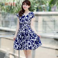 online shop dresses older women are mother summer new printing v