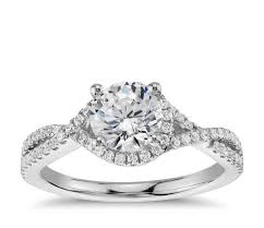 twisted halo engagement ring in 14k white gold 1 3 ct tw - Twisted Halo Engagement Ring