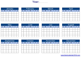 yearly calendar template blank calendar printable