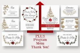 Christmas Wedding Programs Winter Wedding Suite Invitation Templates Creative Market